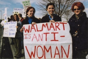 Women protest a Wal-mart in Utah.
